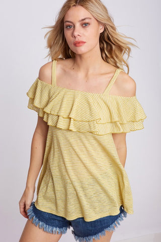 Mustard Open Shoulder Ruffle Top (Medium)