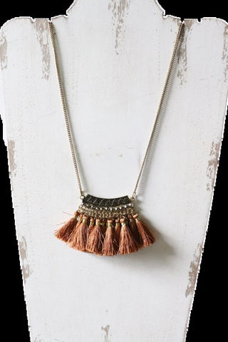 Gold Long Tassel Pendant Necklace