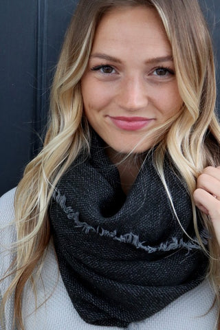 Infinity Black Knit Scarf