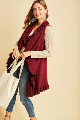 Charcoal or Burgundy Ruffle Detail Vest