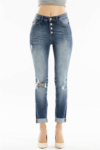 Distressed Jeans with Ankle Cuffs