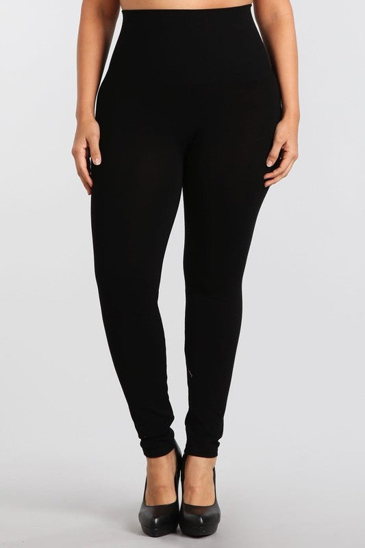 Curvy Black Tummy Tuck Leggings