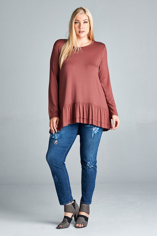 Curvy Red Brown Jersey Top with a Ruffled Hem (3XL)