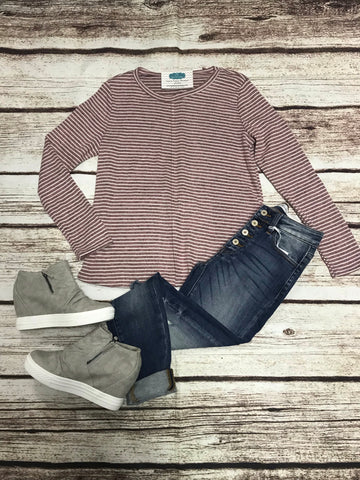 Heathered Maroon Striped Long Sleeve Top