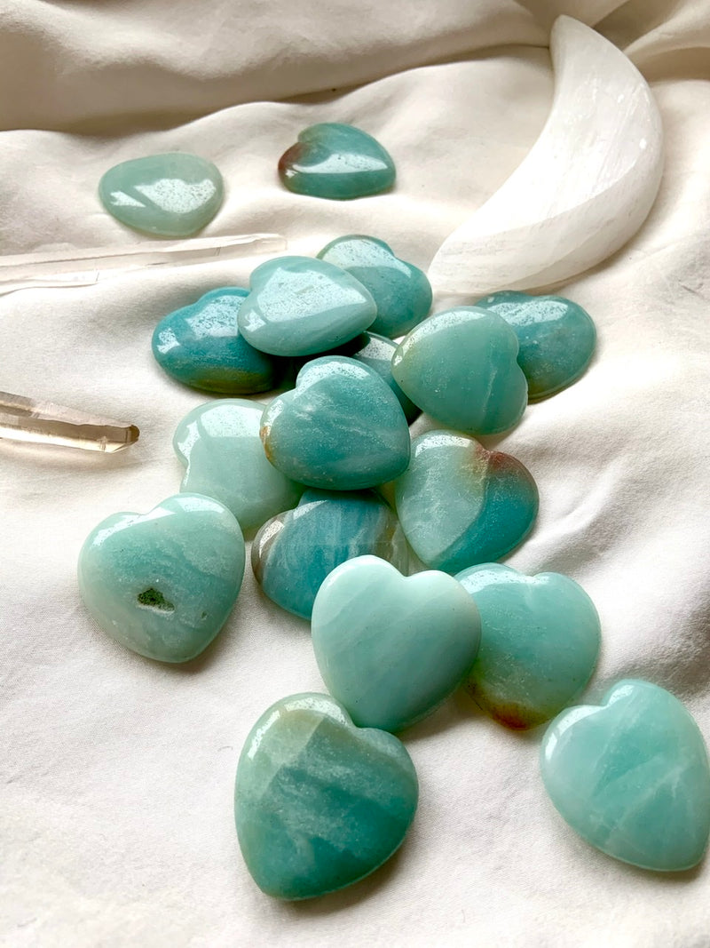 Sky Blue + Teal AMAZONITE HEARTS