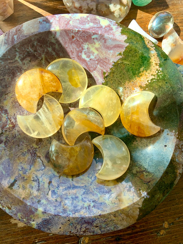 GOLDEN HEALER Crystal Moons, Hematoid Quartz Crescent Moons