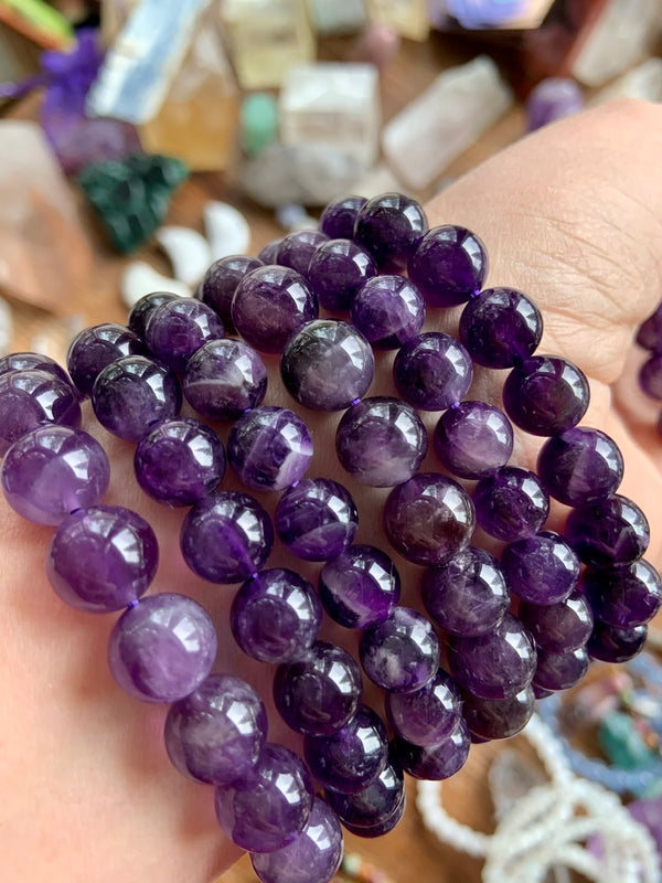 Deep Purple AMETHYST BRACELET, Stretchy Beaded Stacking Bracelets
