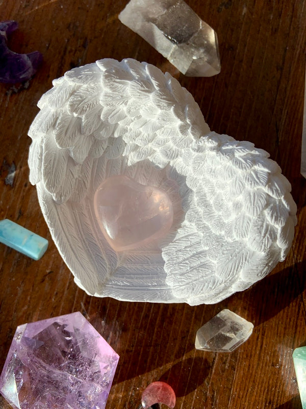 Selenite Angel Wing Heart Bowl, Ring Dish or Sphere Stand