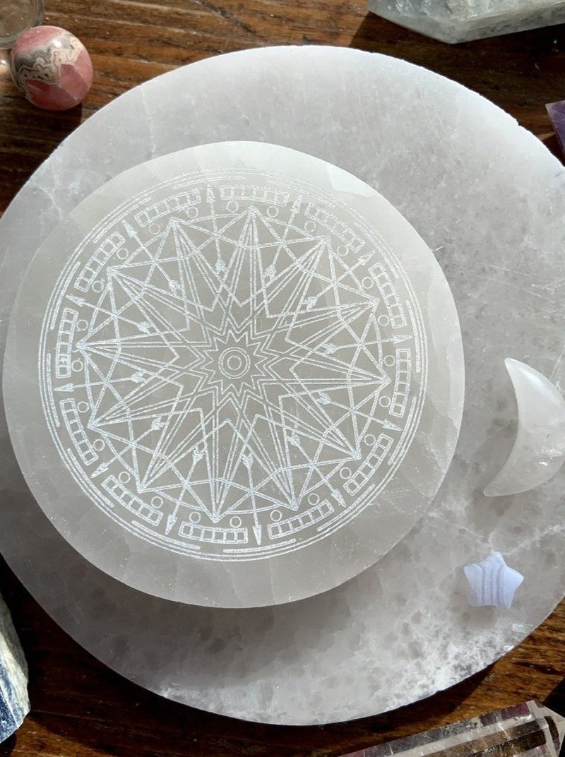 Zodiac Wheel Etched Selenite Charging Plates, Astrological Wheel, 12 Pointed Star