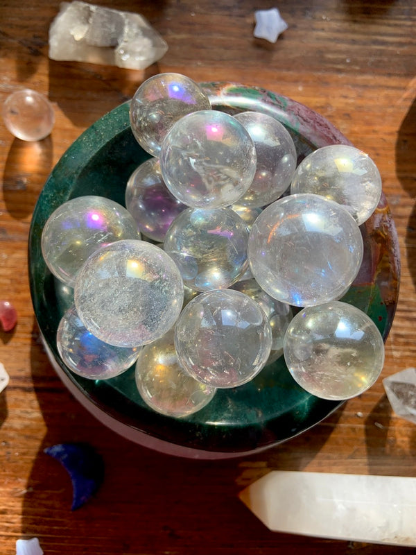 Angel Aura QUARTZ CRYSTAL Mini Spheres for Serenity + Inner Peace