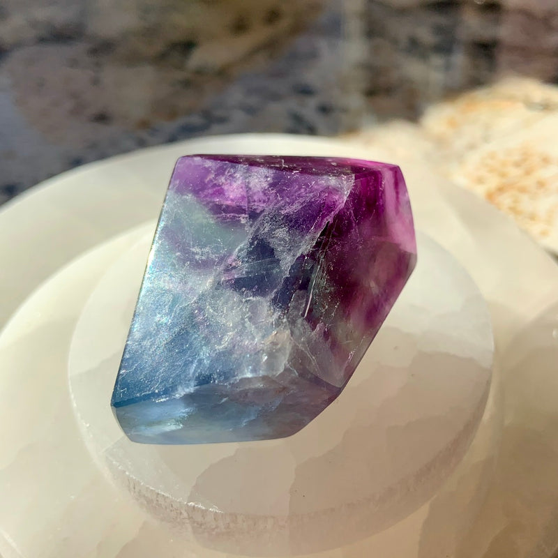 Blue + Purple FLUORITE GEM with Rainbows ~ Freeform Faceted Gem