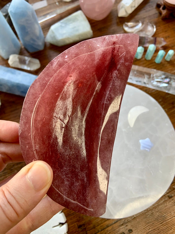 Strawberry Quartz CRESCENT MOON BOWL