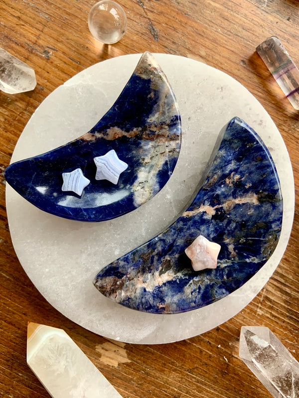 SODALITE CRESCENT MOON Offering Bowls, Sodalite Crystal Ring Dish