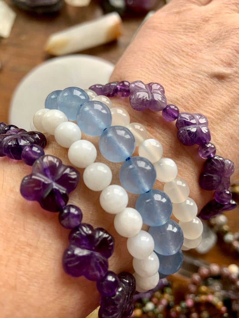 BLUE CHALCEDONY BRACELET, Stretchy Beaded Stacking Bracelets