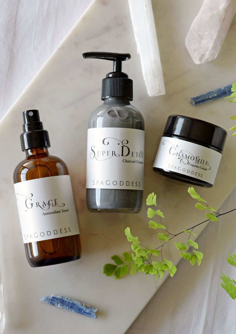 3 Step Organic Facial Care Set: Cleanse, Tone + Moisturize by SpaGoddess