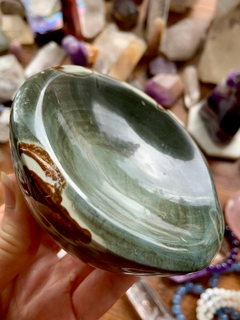 Blue Green POLYCHROME JASPER Offering Bowl ~ One of a Kind Crystal Bowl