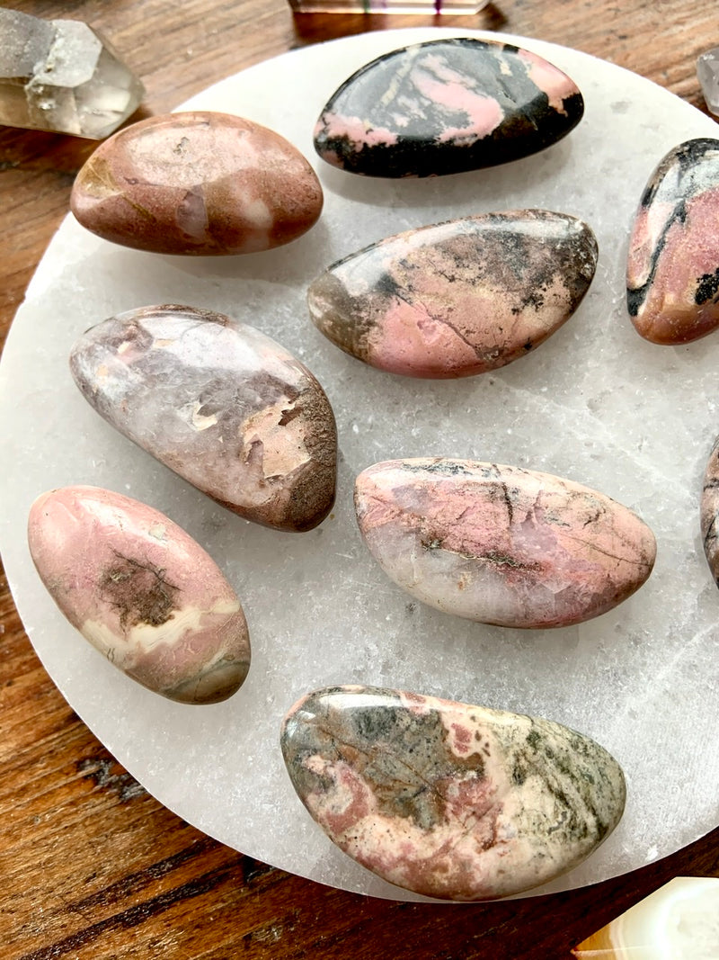 Hand-Shaped Oval RHODONITE TUMBLES, Tumbled Rhodonite