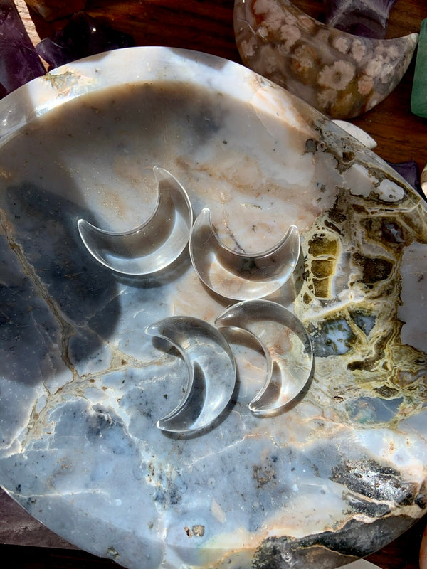 Clear Quartz Crescent Moons