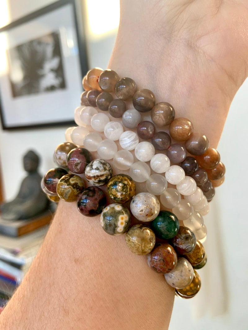 WHITE MOONSTONE BRACELET, Stretchy Beaded Stacking Bracelets