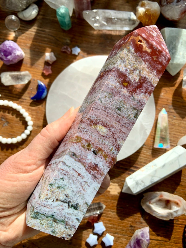 Dreamy Raspberry Swirls Pink OCEAN JASPER Tower with Druzy, Pink OJ Tower