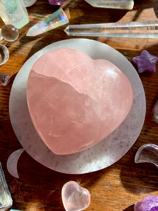 Big ROSE QUARTZ Heart with Rainbows