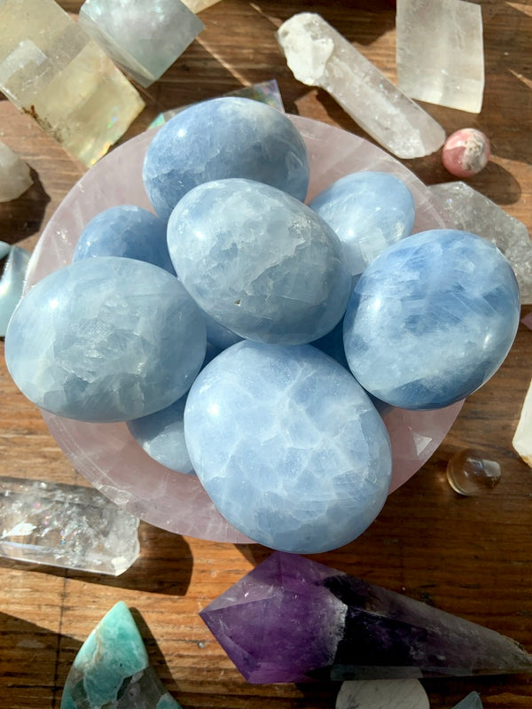 Soothing BLUE CALCITE Palm Stones ~ Cleansed in a Reiki Water Blessing Ceremony on Mt Shasta