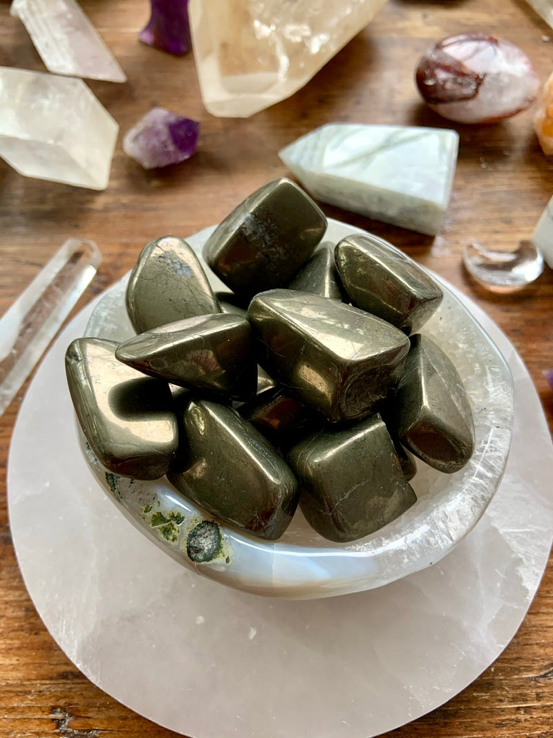 PYRITE Tumbled Stones, Pyrite Meditation Stones for Joy + Prosperity