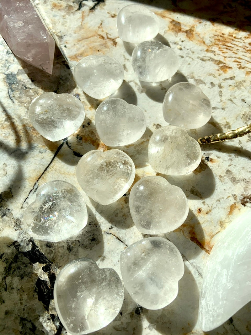 CLEAR QUARTZ HEARTS