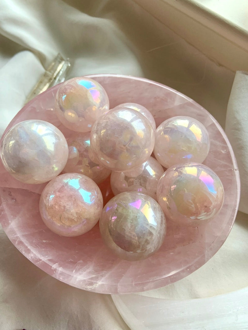 Angel AURA ROSE QUARTZ Spheres