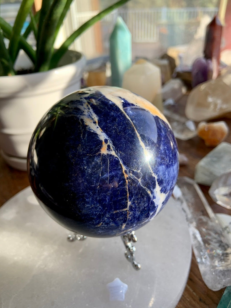 Large Deep Blue SODALITE SPHERE with Pyrite Inclusions + White, Pink + Orange Calcite