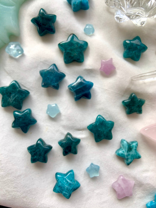 BLUE APATITE STARS, Hand Carved Crystal Stars