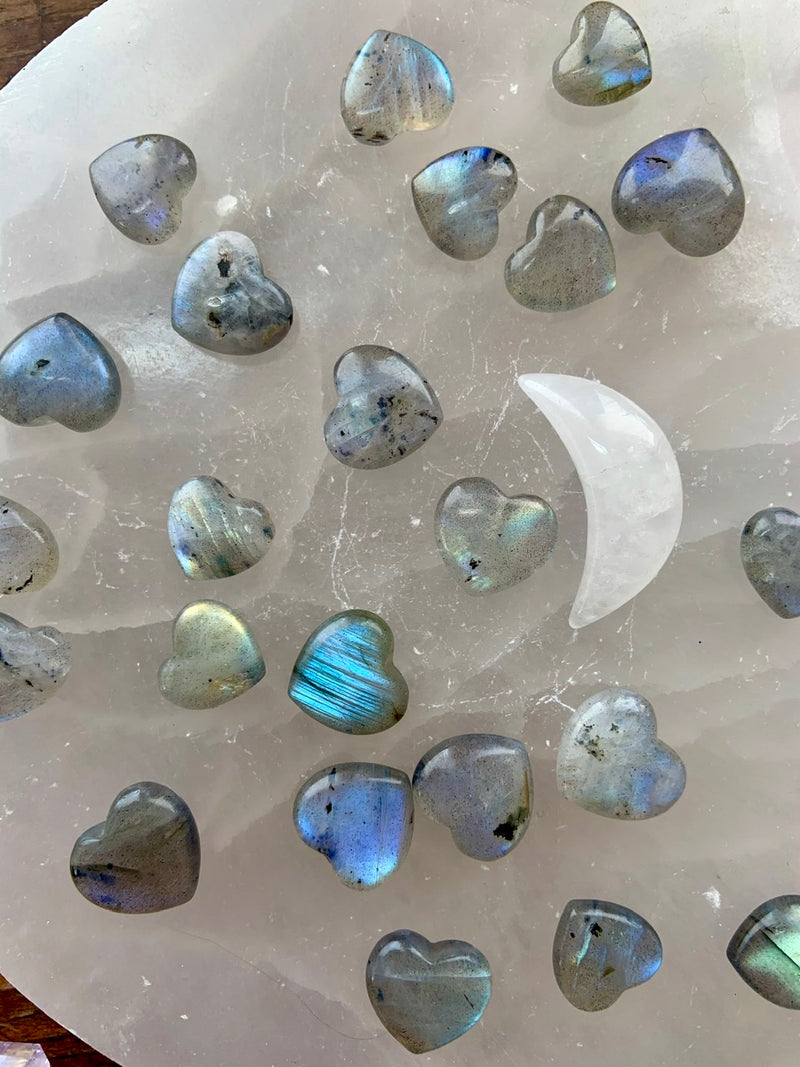 LABRADORITE Mini Hearts with Blue Flash