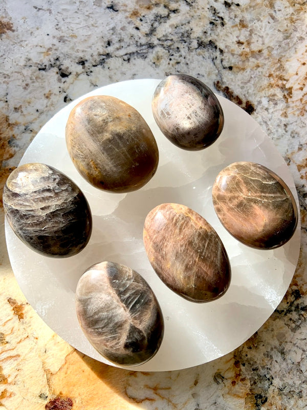 BLACK MOONSTONE PALMSTONES with Opalescent Flash ~ Black Moonstone New Moon energy, inner goddess