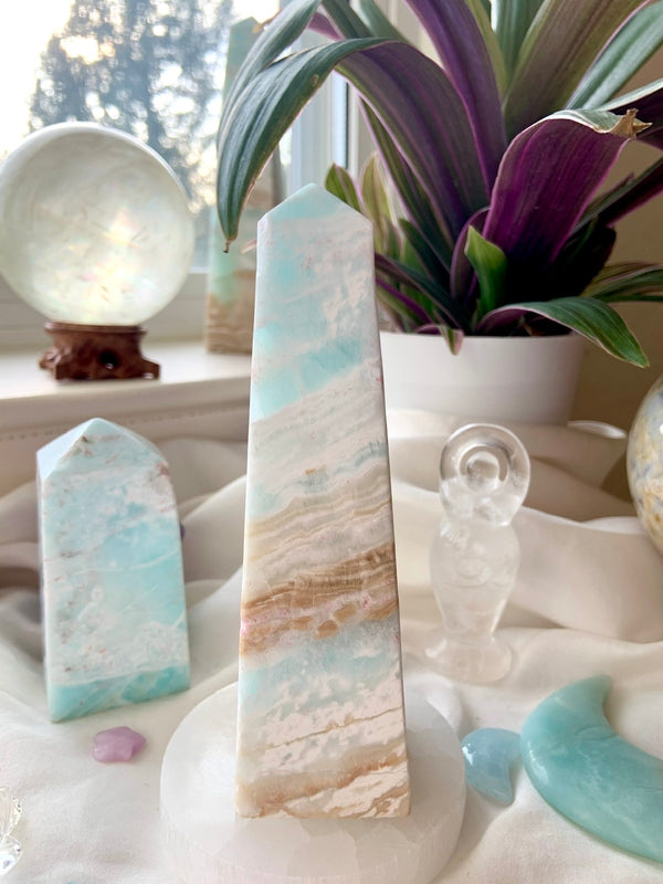 Opaline Shores CARIBBEAN CALCITE TOWER, Blue Aragonite Tower