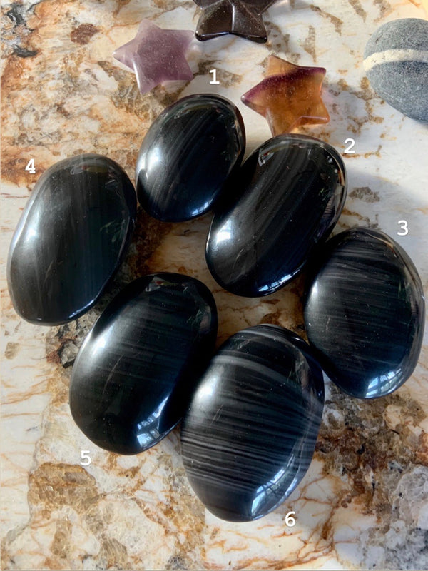 Gray + Black BANDED OBSIDIAN Palmstones for energetic protection