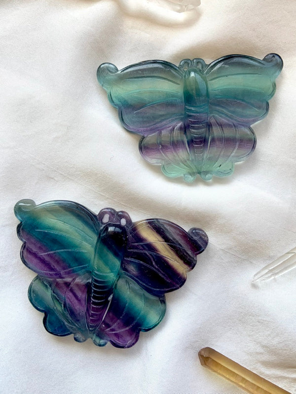 Hand Carved RAINBOW FLUORITE BUTTERFLY