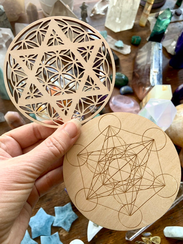 Laser Woodcut Crystal Grid Templates in Two Styles: Metatron's Cube or Flower of Life Merkabah