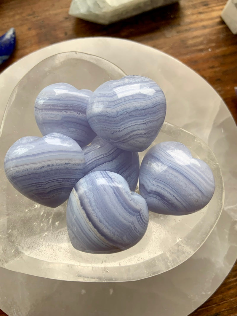 Blue Lace Agate Puffy Hearts