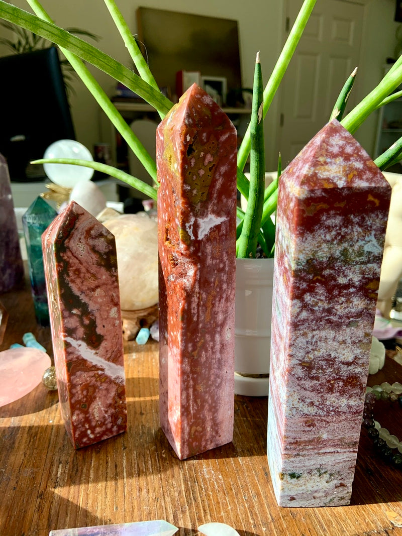 Raspberry Swirls Pink OCEAN JASPER Tower with Quartz Veins + Druzy, Pink OJ Tower