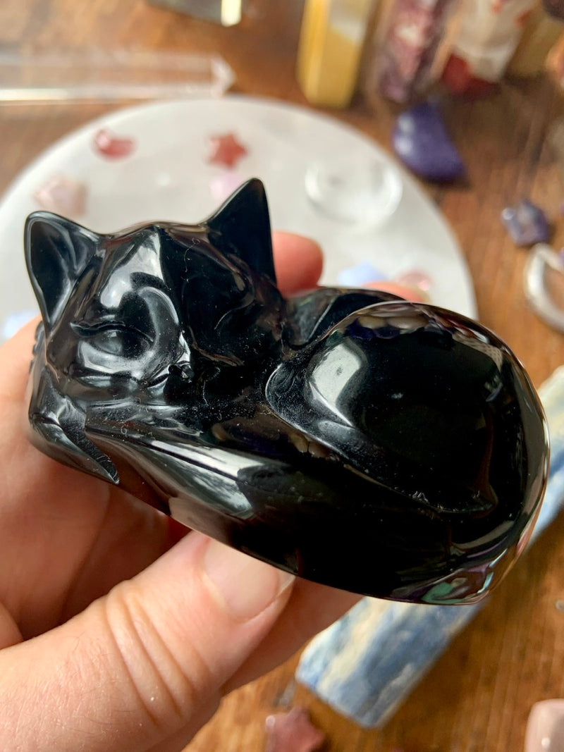 Black Obsidian SLEEPING CAT for energetic protection