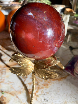 Large Red Ocean Jasper Sphere