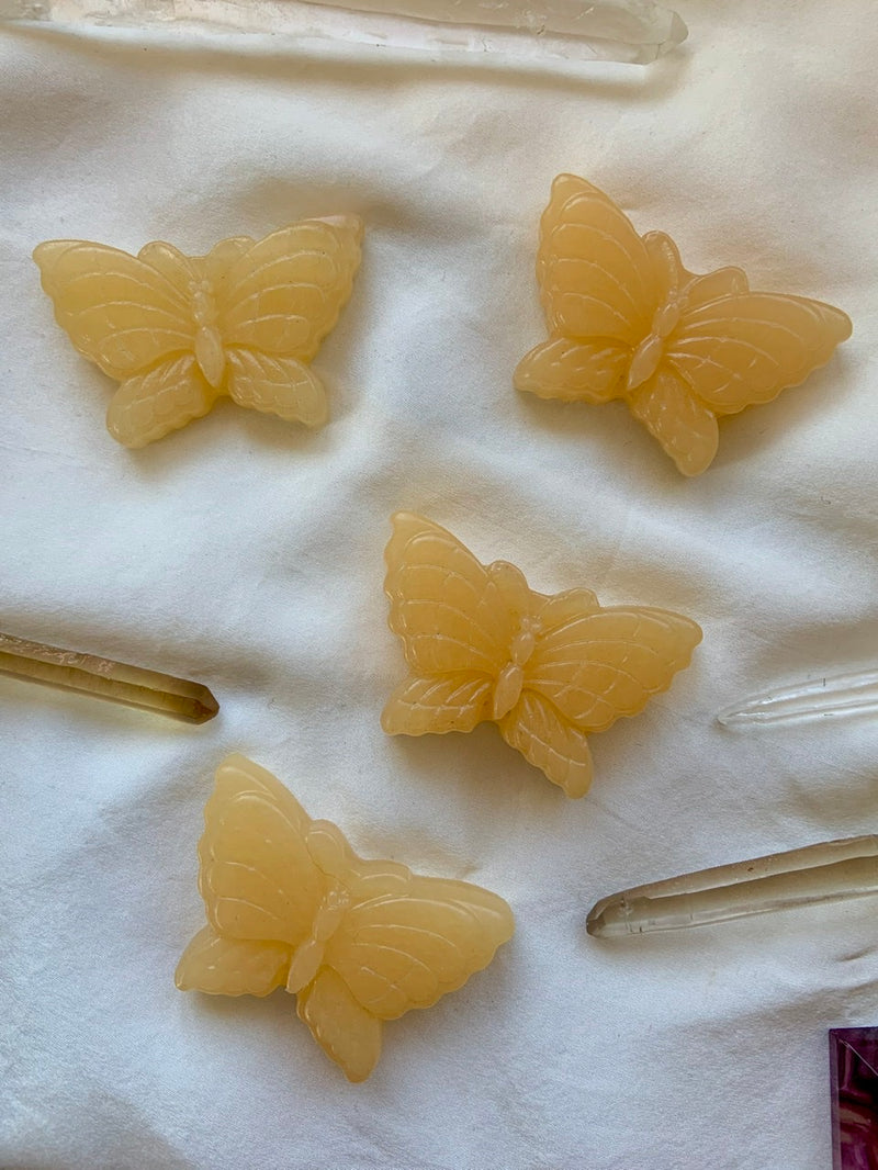 ORANGE CALCITE CRYSTAL Butterflies for Root Chakra + Sacral Chakra Healing