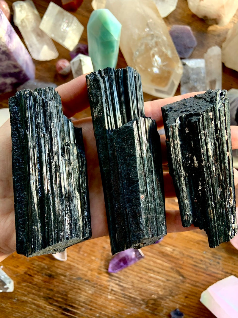 Large Natural BLACK TOURMALINE Chunks with Mica Inclusions