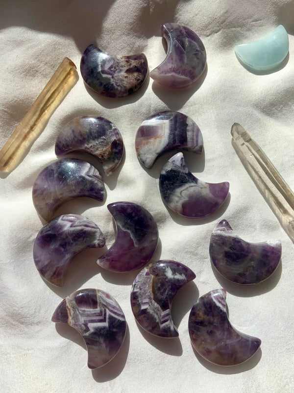 Dream AMETHYST CRESCENT MOONS, Hand-Carved Chevron Amethyst Crystal Moon