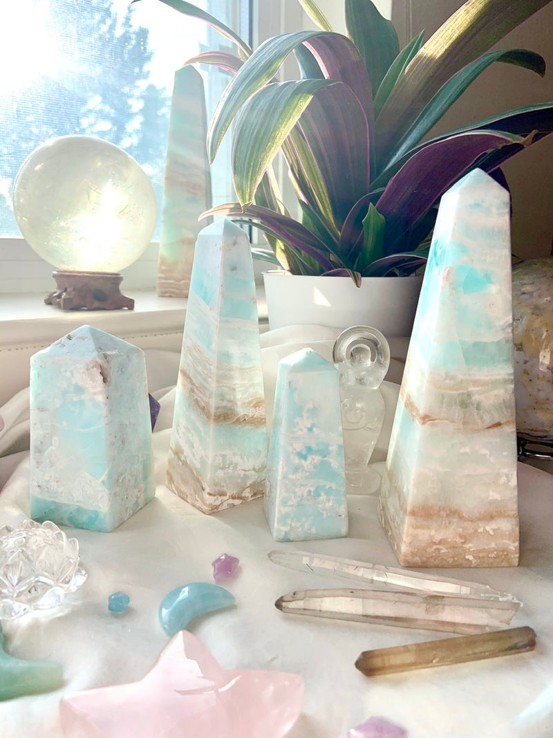 Dreamy Blue CARIBBEAN CALCITE TOWER with Pink Aragonite, Blue Aragonite Tower