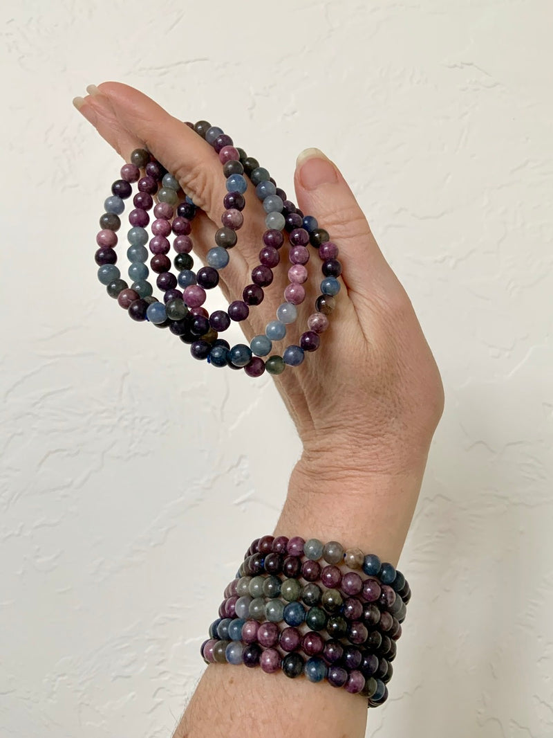 Multi-Colored SAPPHIRE BRACELET, Stretchy Beaded Stacking Bracelets