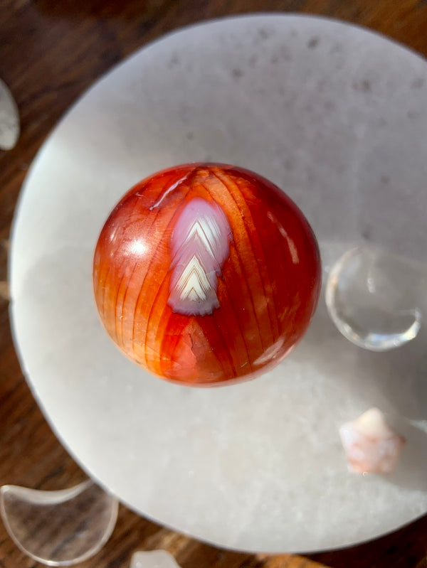 Chevron Pattern CARNELIAN SPHERE, Gorgeous High Quality Polished Carnelian Crystal Ball with Fiery Red + Orange Agate Banding + Crystalized Interior
