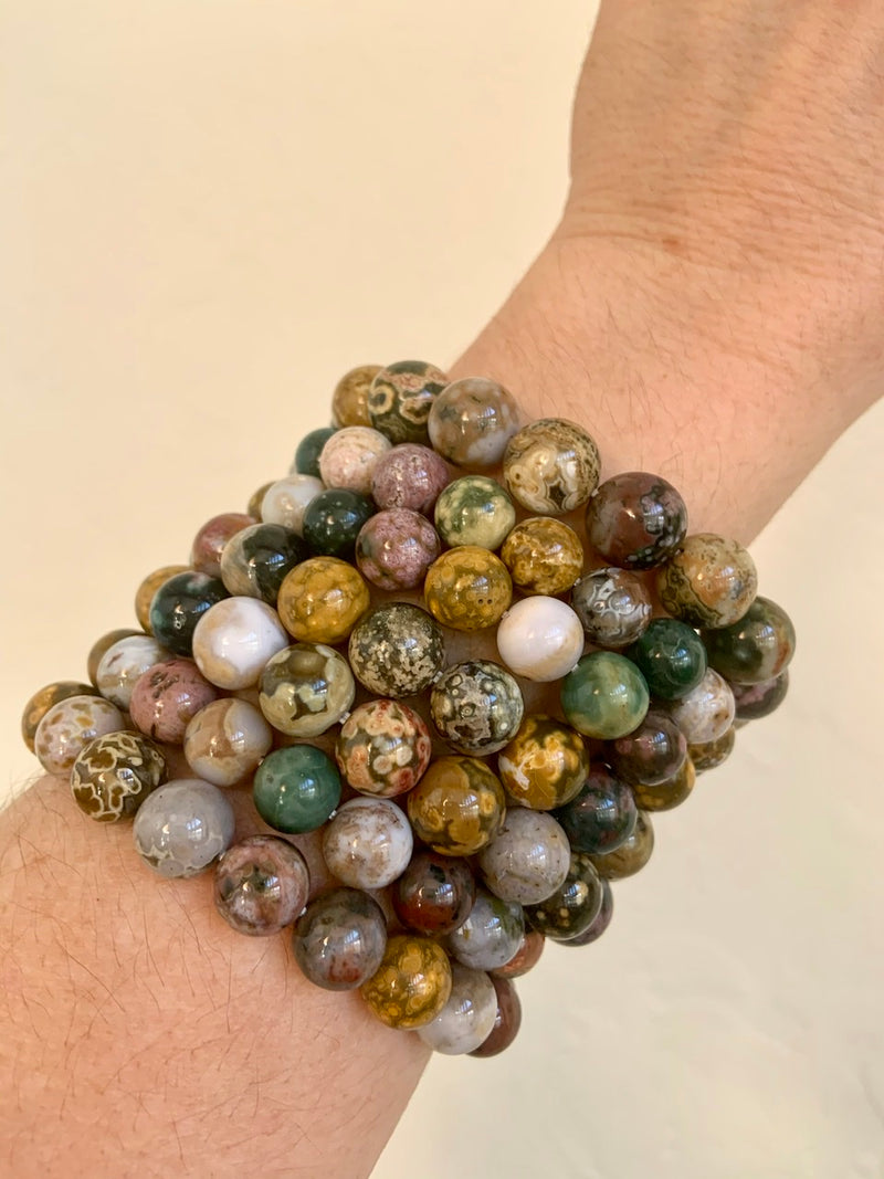 OCEAN JASPER BRACELET, OJ Stretchy Beaded Stacking Bracelets