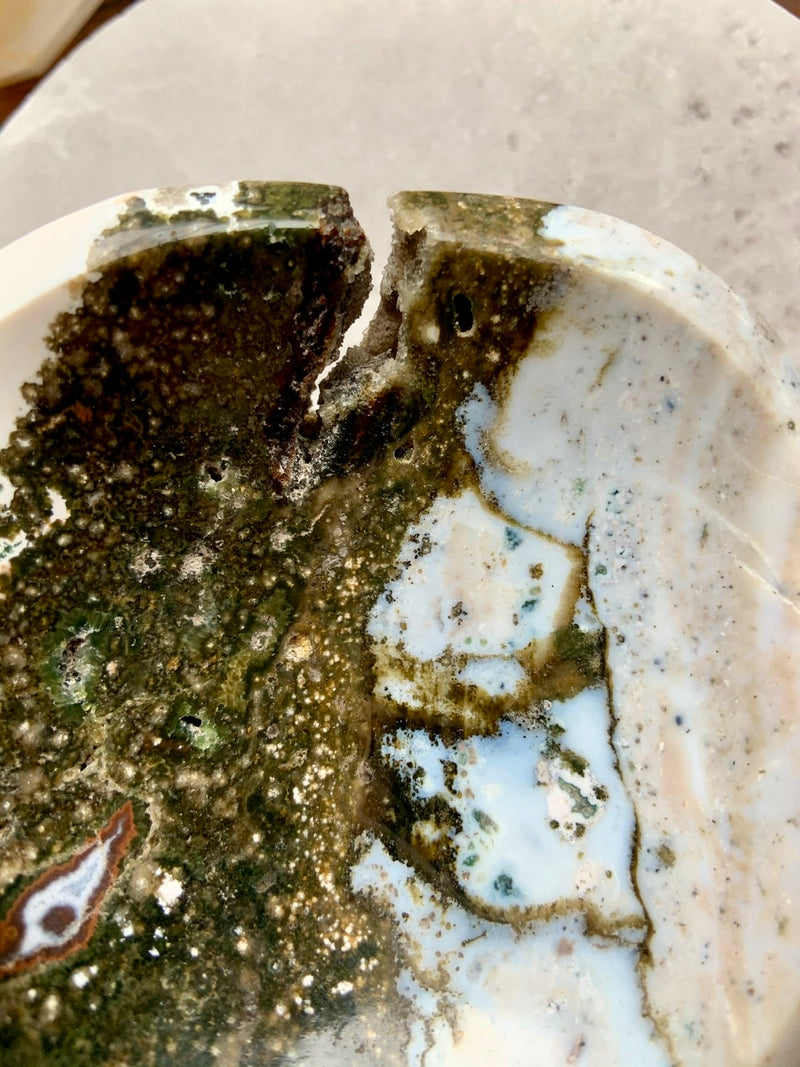 Pastel Swirls + Green Orbicular OCEAN JASPER Offering Bowl with Druzy ~ One of a Kind Crystal Bowl
