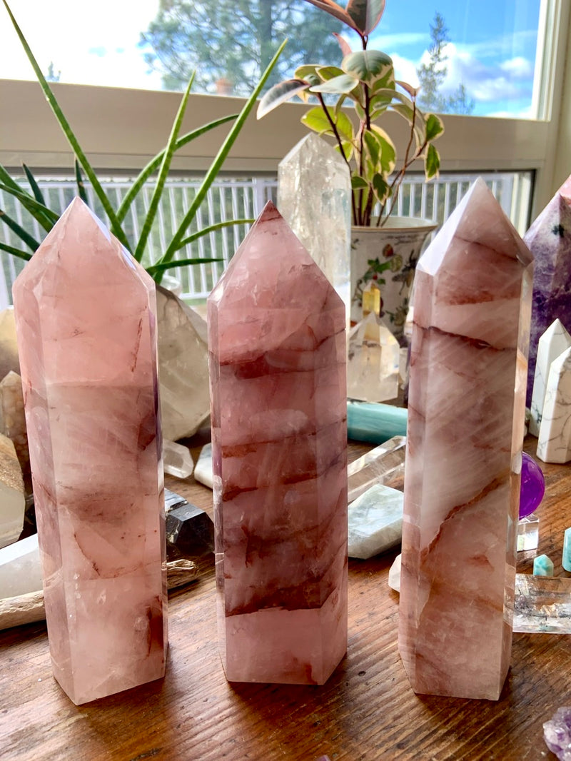 Large Rose-Colored FIRE QUARTZ Crystal Tower, Red Hematoid Quartz Tower